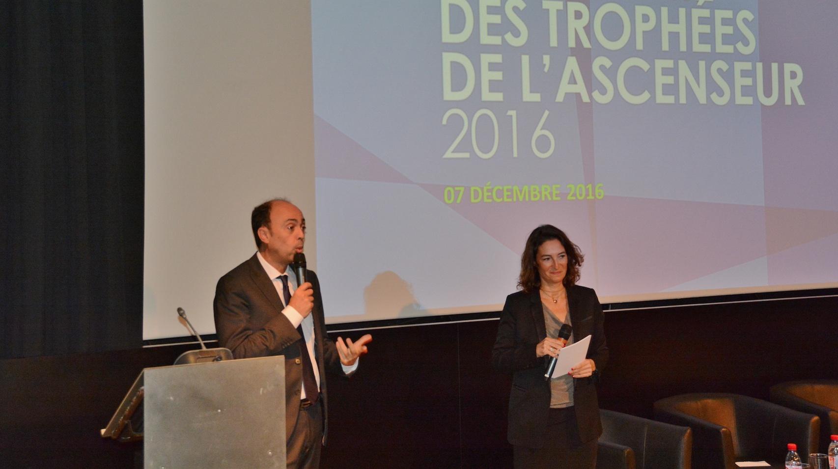 Pierre Hardouin, Président de la Fédération des Ascenseurs et Natacha Fellous, journaliste-animatrice de la cérémonie